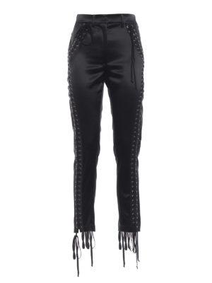 DOLCE & GABBANA: pantaloni casual - Pantaloni a sigaretta in raso con lacci