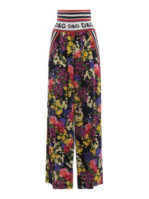 DOLCE & GABBANA: pantaloni casual - Pantaloni a gamba larga in charmeuse floreale