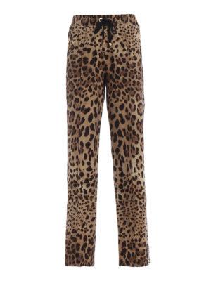 DOLCE & GABBANA: pantaloni casual - Pantaloni larghi in seta stampa animalier