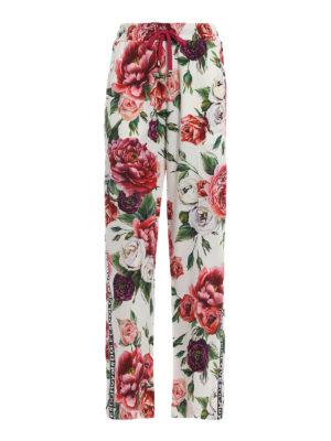 DOLCE & GABBANA: pantaloni casual - Pantaloni in cady stampa Peonie