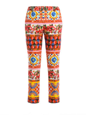 Dolce & Gabbana: casual trousers - Mambo print cotton crop trousers