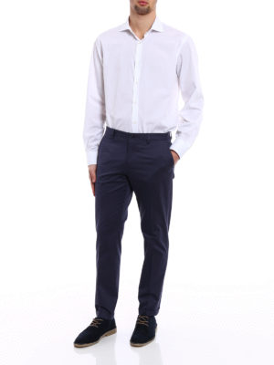 Dolce & Gabbana: casual trousers online - Blue cotton poplin chino trousers