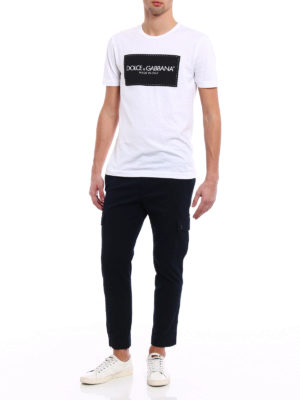 Dolce & Gabbana: casual trousers online - Cotton twill crop cargo trousers
