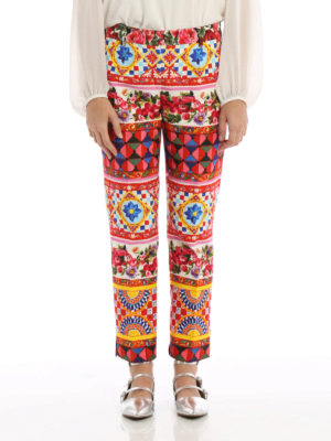Dolce & Gabbana: casual trousers online - Mambo print cotton crop trousers