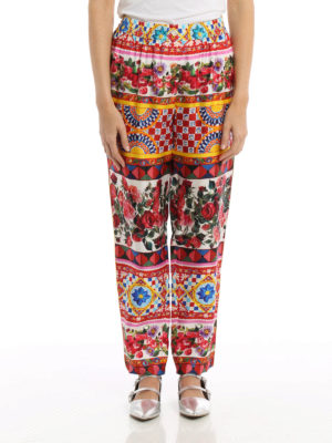 Dolce & Gabbana: casual trousers online - Mambo print silk pyjamas trousers