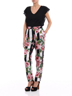 Dolce & Gabbana: casual trousers online - Rose print silk pajama trousers