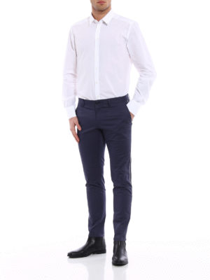 Dolce & Gabbana: casual trousers online - Stretch cotton chino with bands