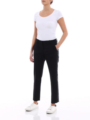 Dolce & Gabbana: casual trousers online - Stretch wool trousers with band