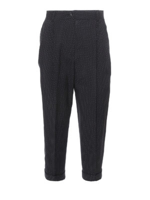 Dolce & Gabbana: casual trousers - Polka dot cropped wool trousers