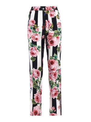 Dolce & Gabbana: casual trousers - Rose print silk pajama trousers