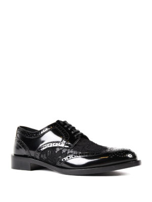 Dolce & Gabbana: classic shoes online - Lace panelled leather Derby shoes
