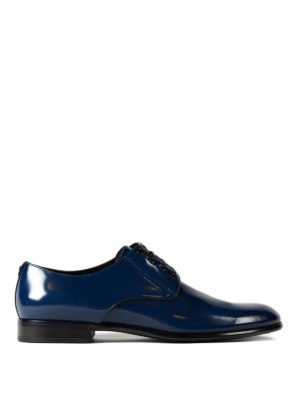 Dolce & Gabbana: classic shoes - Polished blue leather Derby shoes