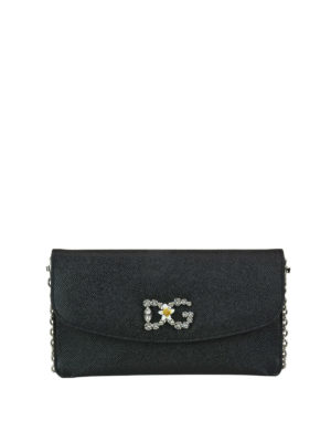 DOLCE & GABBANA: pochette - Clutch nera con logo gioiello