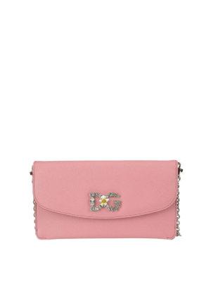 DOLCE & GABBANA: pochette - Clutch rosa con logo gioiello