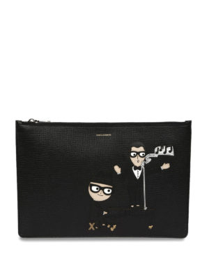 Dolce & Gabbana: clutches - Designer patch leather clutch