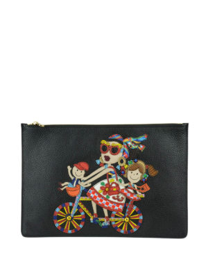 Dolce & Gabbana: clutches - DG Family patch leather clutch
