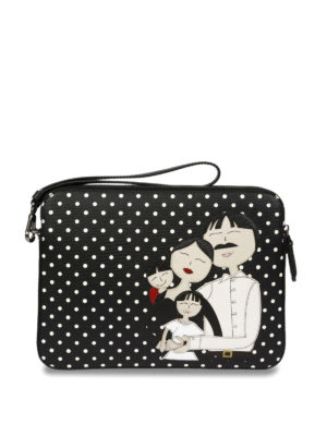 Dolce & Gabbana: clutches - DG Family patch polka dot clutch