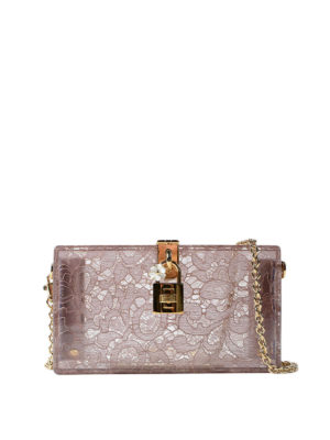 Dolce & Gabbana: clutches - Dolce Box plexi and lace clutch