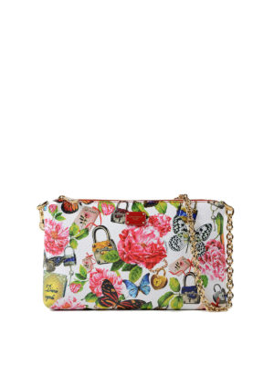 DOLCE & GABBANA: pochette - Clutch in pelle con stampa floreale