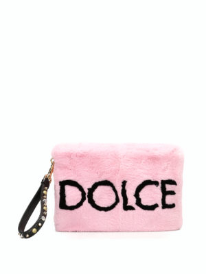 Dolce & Gabbana: clutches - Lapin fur clutch with logo