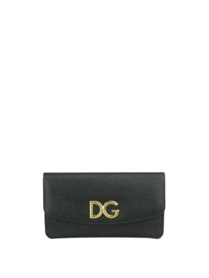 Dolce & Gabbana: clutches - Leather clutch with logo