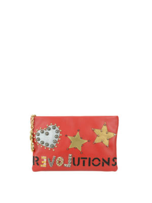 Dolce & Gabbana: clutches - Leather clutch with studded patches