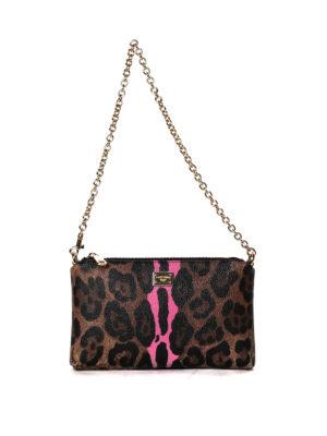 Dolce & Gabbana: clutches - Leo print crepe clutch