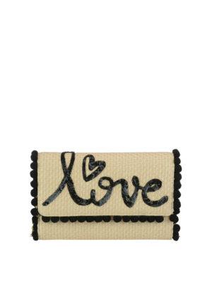 DOLCE & GABBANA: pochette - Borsetta in rafia con ricamo love