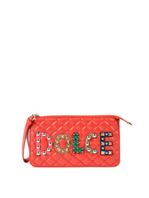 Dolce & Gabbana: clutches - Nappa clutch with logo patches