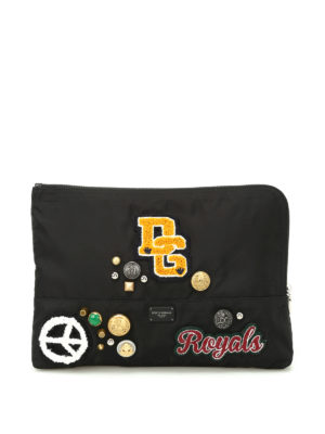 Dolce & Gabbana: clutches - Nylon clutch with patches and studs