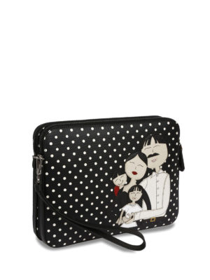 Dolce & Gabbana: clutches online - DG Family patch polka dot clutch