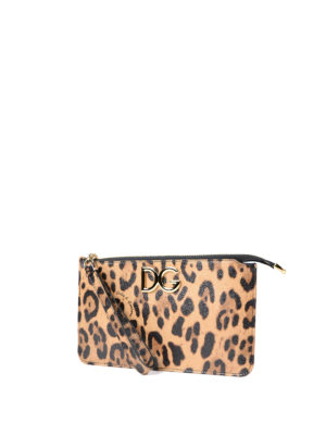 Dolce & Gabbana: clutches online - Leo printed leather clutch