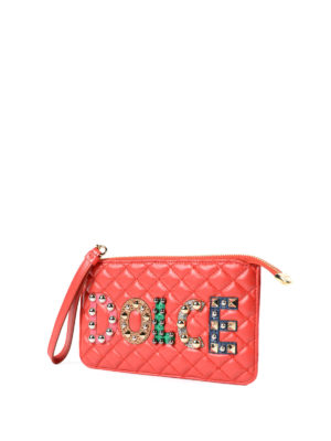 Dolce & Gabbana: clutches online - Nappa clutch with logo patches