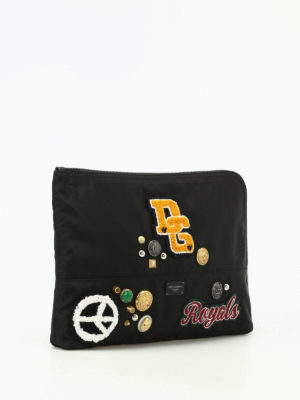 Dolce & Gabbana: clutches online - Nylon clutch with patches and studs