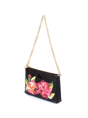 Dolce & Gabbana: clutches online - Roses print hammered leather clutch