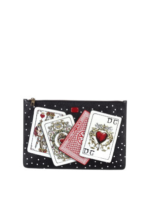 Dolce & Gabbana: clutches - Playing card print leather pouch