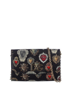 Dolce & Gabbana: clutches - Printed dauphine leather clutch