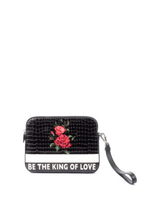 Dolce & Gabbana: clutches - Printed leather zipped clutch