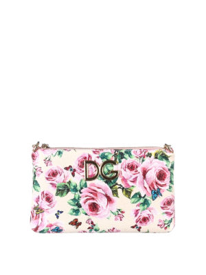 Dolce & Gabbana: clutches - Rose print leather clutch