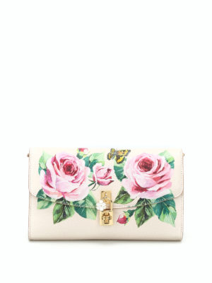 Dolce & Gabbana: clutches - Roses print grained leather clutch