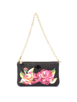 Dolce & Gabbana: clutches - Roses print hammered leather clutch