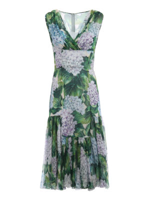 Dolce & Gabbana: cocktail dresses - Hydrangea print silk chiffon dress