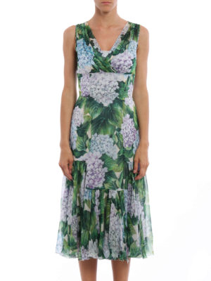 Dolce & Gabbana: cocktail dresses online - Hydrangea print silk chiffon dress