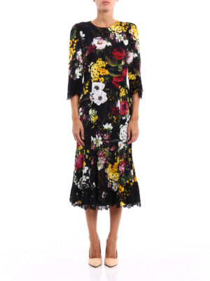 Dolce & Gabbana: cocktail dresses online - Lace detailed floral silk dress