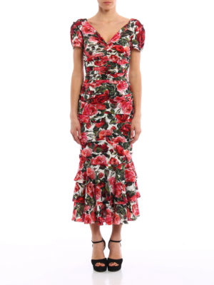 Dolce & Gabbana: cocktail dresses online - Rose garden print silk sheath dress