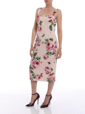 Dolce & Gabbana: cocktail dresses online - Rose print cady sheath dress