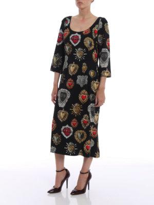 Dolce & Gabbana: cocktail dresses online - Sacred heart print crepe dress