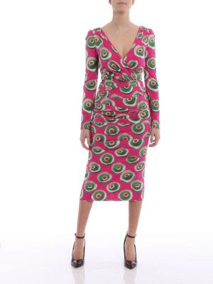 Dolce & Gabbana: cocktail dresses online - Sicilian cassata print draped dress