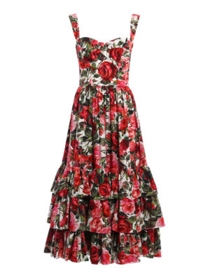 Dolce & Gabbana: cocktail dresses - Rose garden print cotton midi dress