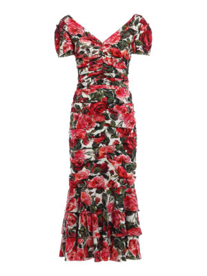 Dolce & Gabbana: cocktail dresses - Rose garden print silk sheath dress